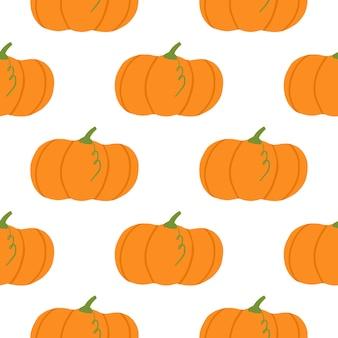 分離されたカボチャ要素と秋のシーズンのシームレスなパターン。秋の背景に白い背景。