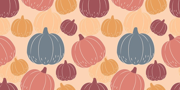 Autumn season seamless pattern with pumpkin illustration