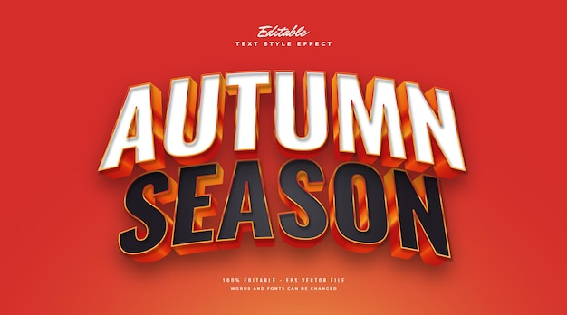 Autumn season text style with 3d embossed effect. editable text style effect