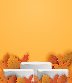 Autumn season theme product display podium. design with leaves on orange background. paper art style. vector.