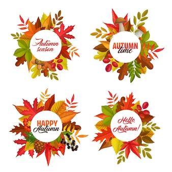 Осенний сезон векторных круглых рамок с опавшими листьями клена, рябины и каштана, дуба и березы. осенние баннеры с грибами, сосновыми шишками, осенними ягодами, типографикой и красочной листвой