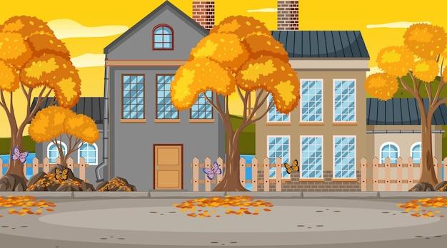 町に建物がある秋の季節