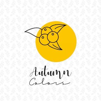 Autumn season with pattern background design vector