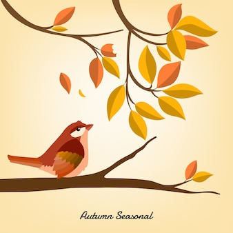 Autumn seasonal for background with bird
