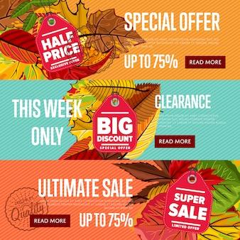 Autumn seasonal sale website templates