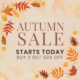 Autumn sell template vector for social media post