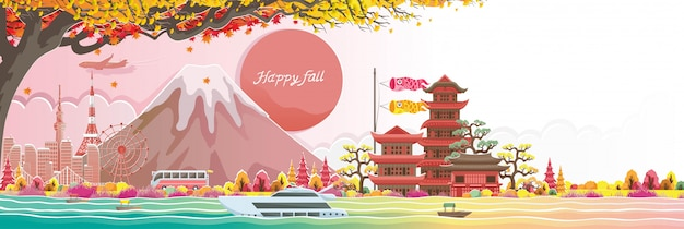Autumn seson in japan. happy fall. japan style building. translation: welcome to japan.