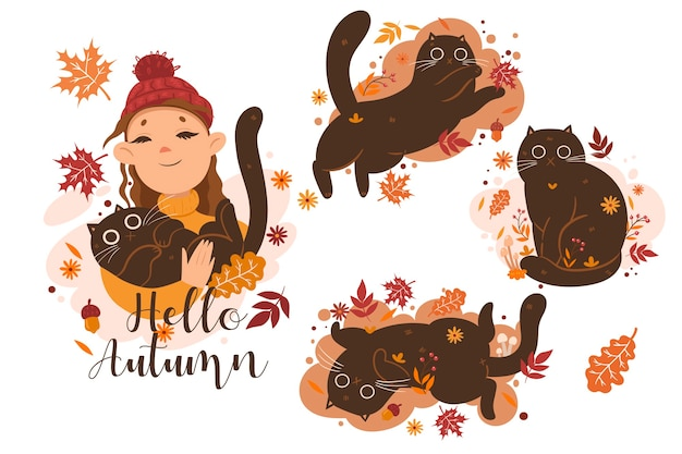 Autumn set of cats and girl illustrations and the inscription hello autumn. vector graphics