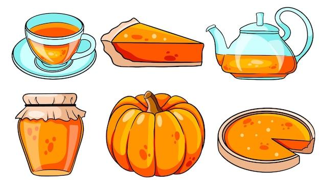 Autumn set. collection of autumn items. pumpkin, hot tea, kettle, mug, pumpkin pie, jam. cartoon style. vector illustration for design and decoration.