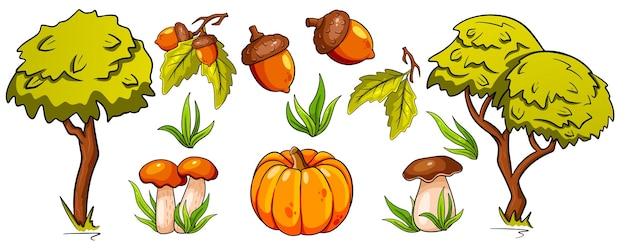 Осенний набор. коллекция осенних вещей. грибы, тыква, желуди, трава, дубовые листья, деревья. мультяшный стиль. векторная иллюстрация для дизайна и декора.
