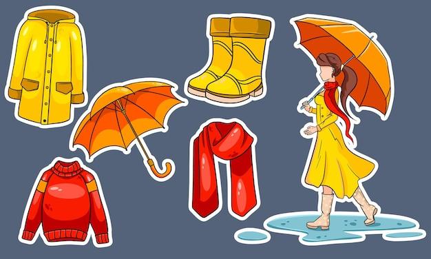 Осенний набор. коллекция осенних вещей. наклейки. девушка с зонтиком, шарфом, плащом, свитером, резиновыми сапогами, зонтиком. мультяшный стиль. векторная иллюстрация для дизайна и декора.