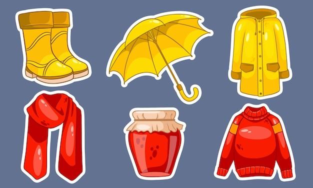 Осенний набор. коллекция осенних вещей. наклейки. джем, шарф, плащ, свитер, резиновые сапоги, зонт. мультяшный стиль. векторная иллюстрация для дизайна и декора.