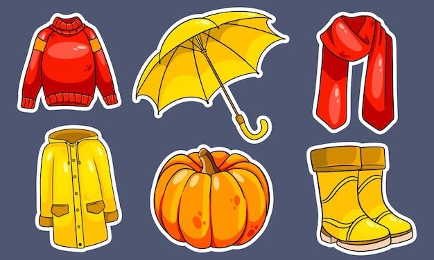 Осенний набор. коллекция осенних вещей. наклейки. тыква, шарф, плащ, свитер, резиновые сапоги, зонт. мультяшный стиль. векторная иллюстрация для дизайна и декора.