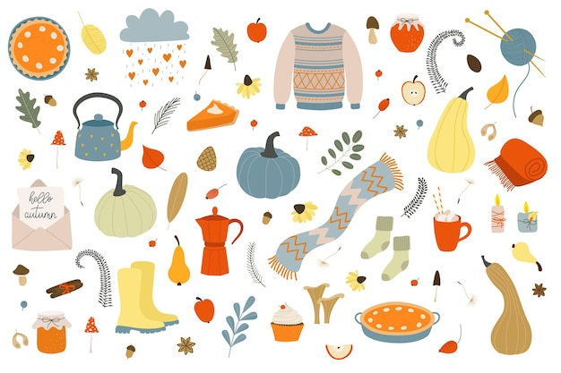 Autumn set cozy fall season decoration objects elements for autumn party thanksgiving day