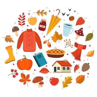 秋のセット。かわいい要素のコレクション