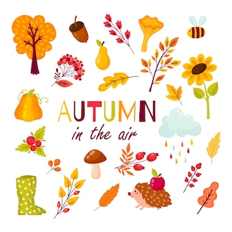 Autumn set of elements in the cartoon style. collection of autumnal branches, berries, animals and mushrooms. vector illustration in yellow, red and orange colors