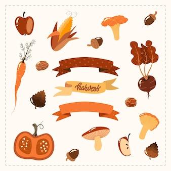 가을 세트 손으로 그린 가을 요소 야채. 가을 수확.