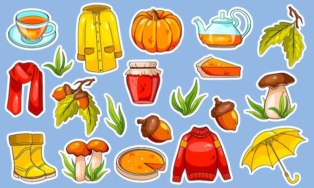 Autumn set. large collection of autumn items stickers. pumpkin, tea, raincoat, scarf, boots, mushrooms, acorns in cartoon style. vector illustration for design and decoration.