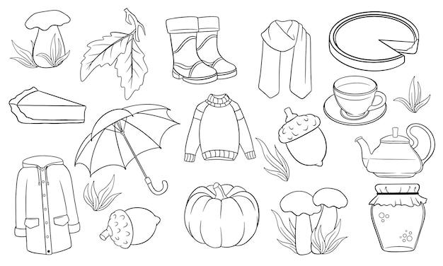 가을 세트입니다. 가을 아이템의 대규모 컬렉션입니다. 호박, 차, 비옷, 스카프, 부츠, 버섯, 선 스타일의 도토리. 디자인 및 장식을 위한 벡터 일러스트 레이 션.