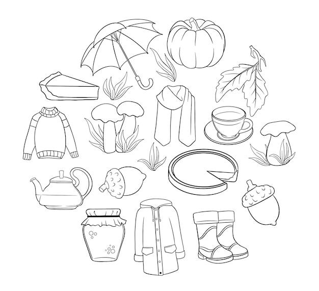 Осенний набор. большая коллекция осенних вещей. тыква, чай, плащ, шарф, сапоги, грибы, желуди в стиле линии. векторные иллюстрации для дизайна и декора.