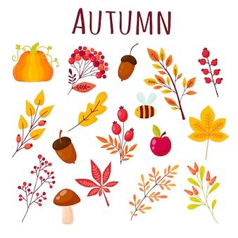 Осенний набор элементов в мультяшном стиле. сбор осенних веток, ягод, животных и грибов. векторные иллюстрации в желтых, красных и оранжевых тонах