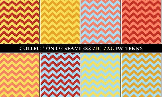 Autumn set of seamless zigzag chevron pattern