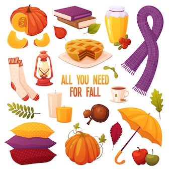 Autumn set with different cartoon elements: candles, pumpkins, pie, honey, tea, acorns, books, umbrella, lamp, scarf, pillows, socks and leaves. cozy vector collection