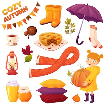 Autumn set with different cartoon elements: girl, pumpkin, pie, honey jars, couple tea, acorns, boots, umbrella, scarf, pillows, socks and leaves. cozy vector collection