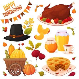 Autumn set with different vector elements: vegetables, pumpkins, pie, honey jars, couple tea, turkey plate, hat and leaves. happy thanksgiving collection