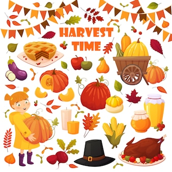 Autumn set with different vector elements: vegetables, pumpkins, pie, honey jars, turkey, hat and leaves.