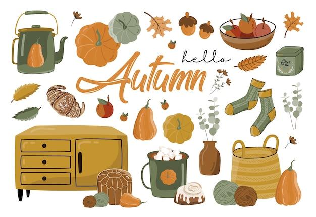 Autumn set with elements.