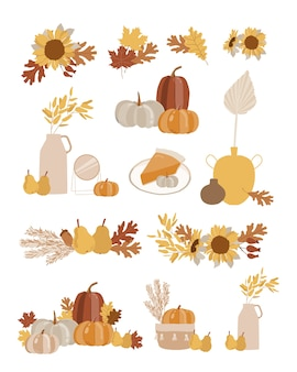 Осенний набор с элементами.