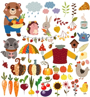 森の野生動物や野菜の果物や装飾が施された秋のセット