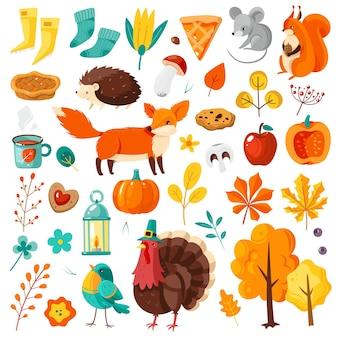 秋のセット。黄色とオレンジ色の落ち葉、森の動物、カボチャ、リンゴと七面鳥、収穫祭とカードの感謝祭のお祝いの属性、ポスターフラットベクトル漫画分離セット