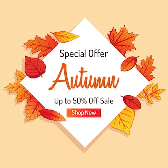 Autumn shopping banner for discount with colorful leaves background
