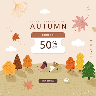 Autumn shopping event illustration. banner.