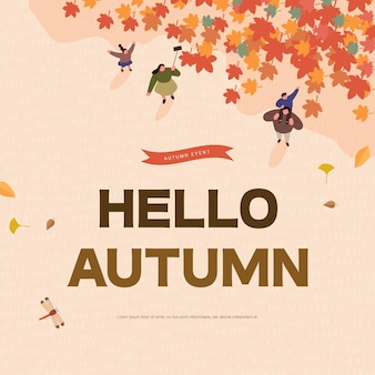 Autumn shopping event illustration web banner