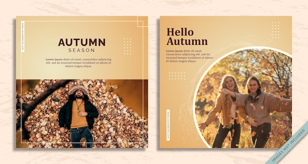 Autumn social media post template free vector