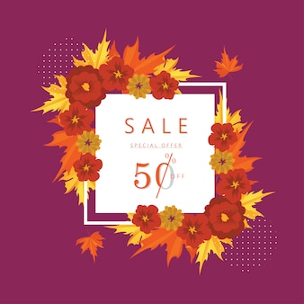 Autumn special offer 50 percent discount sale banner and background.