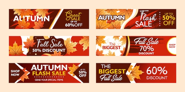 Autumn special offer banner template collection