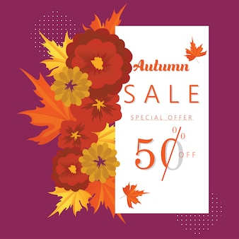 Autumn special offer discount banner and background.