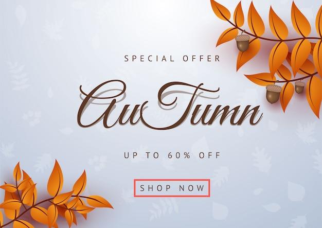 Autumn special offer leaves banner vector illustration