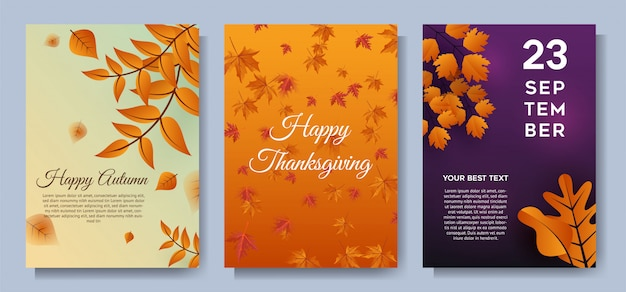 Autumn special offer leaves sale banners or party invitation background