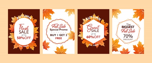 Autumn special offer poster template collection