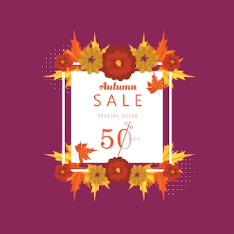 Autumn special offer sale 50 percent off discount banner and background.