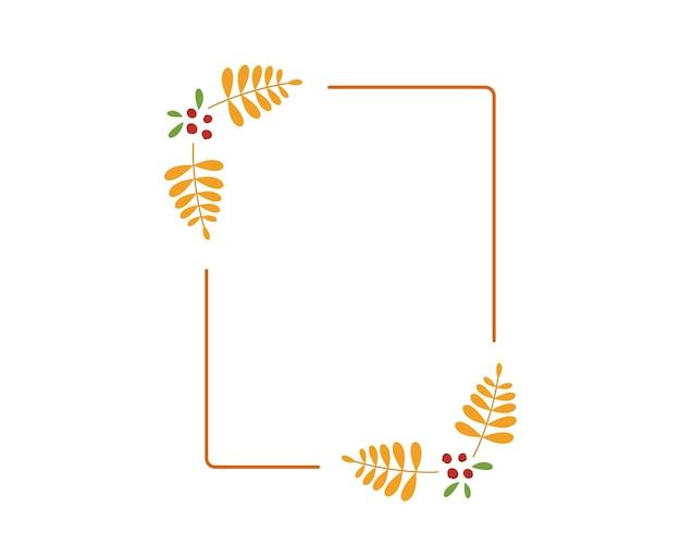 黄色のナナカマドの葉と秋の正方形のフレーム。