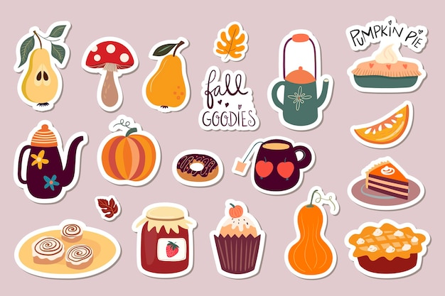 Autumn stickers magnets collection with cute seasonal elements