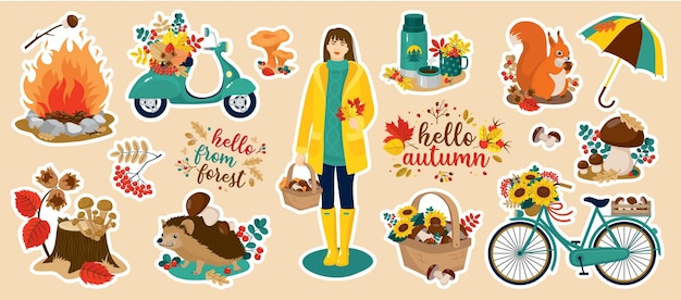 Autumn stickers vector set: girl, basket, mushrooms, hedgehog, squirrel, foliage, moped, motorcycle, sunflower, greeting.