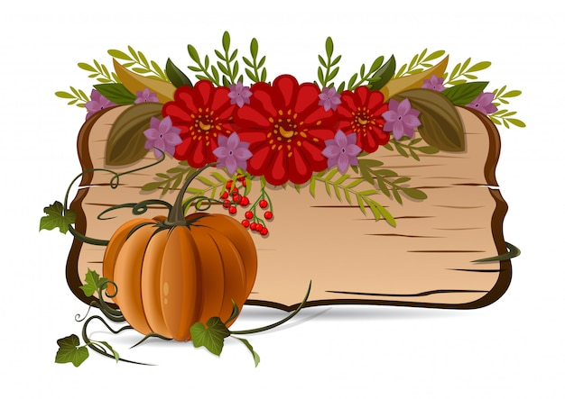 Autumn still life with pumpkin, flowers and vintage wooden board with blank space for text.