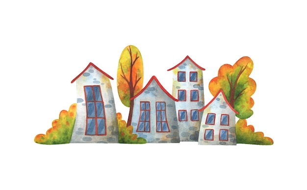灰色の家と黄色い木々のある秋の通り。